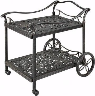 HOME DECOR – FURNITURE – CART – Fiesta Beverage Cart, Aged Bronze - traditional - outdoor tables