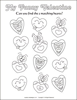 Valentine\'s Day matching games for kids - Valentine party games and ...