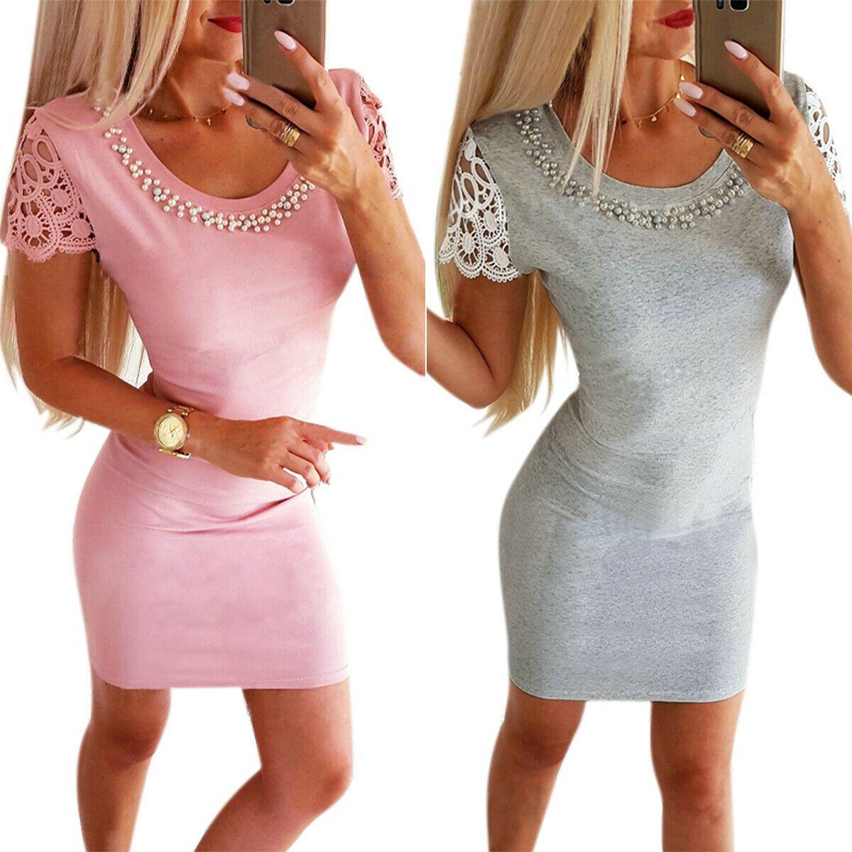 Damen Perlen Abendkleid Minikleid Bodycon Kleider Party Cocktailkleid Ballkleid In 2020 Bodycon Kleider Abendkleid Minikleid