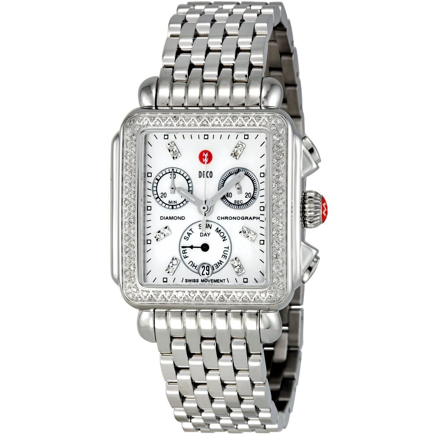 this womenu0027s watch from the deco collection features a silver stainless steel bracelet and mother of pearl chronograph diamond dial