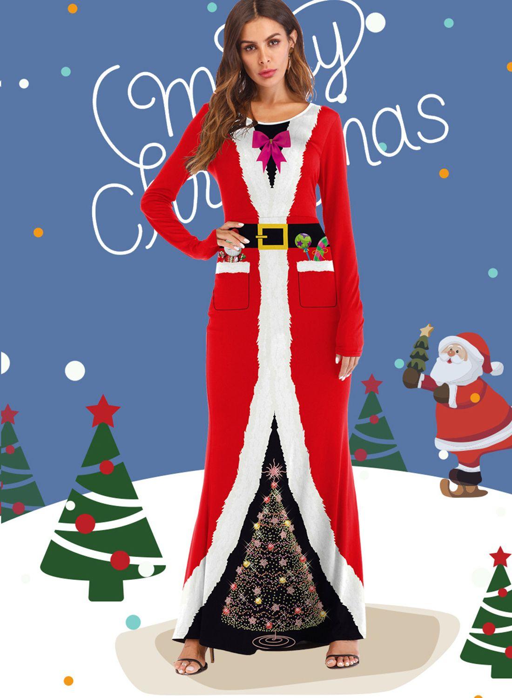 89014456fac6 Christmas Adult Cosplay Dress Up Santa 3d Print Dress ...