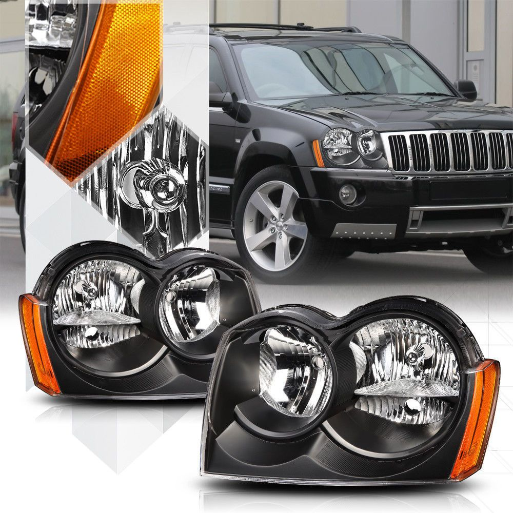 Black Housing Headlight Amber Signal Reflector For 05 07 Jeep Grand Cherokee Ebay Motors Parts Acce Jeep Grand Cherokee Jeep Srt8 2006 Jeep Grand Cherokee