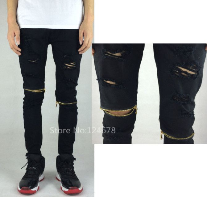 Ripped black skinny jeans men