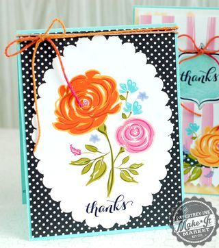 Floral Panel Thanks Card by Betsy Veldman for Papertrey Ink (June 2014)