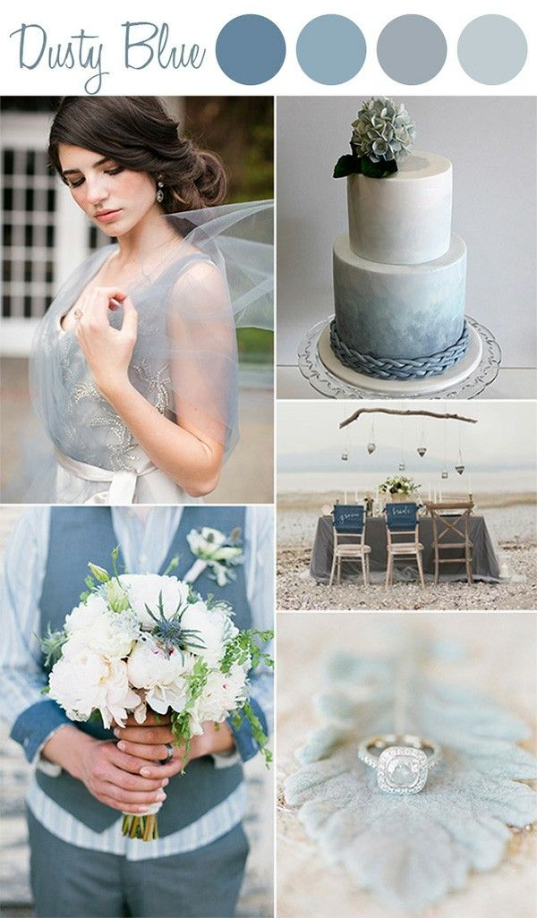 Dusty Grey Blue Wedding Color Ideas