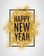 Happy new year. Gold glitter New Year. Gold background for flyer, poster, sign, banner, web, header. Abstract golden background for text, type, quote. Gold blur background.