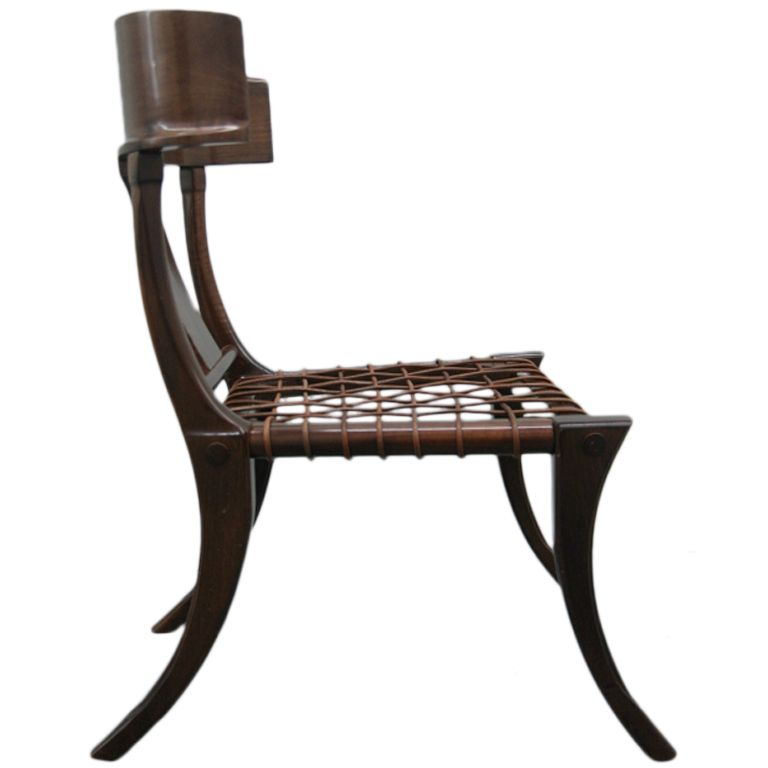Walnut Klismos Chair With Seat Of Leather Webbing, Design Attributed To A  Collaboration Between T. Robsjohn Gibbings And Greek Cabinetmakers Susan  And ...