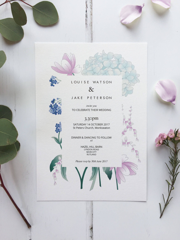 Modern Floral Wedding Invitation   Personalised & Printable at Home ...