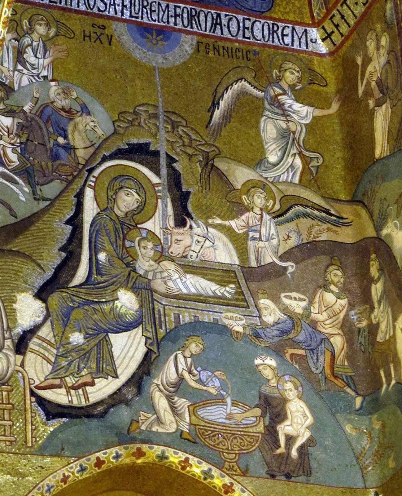 Palatine Chapel, Palermo, mosaic with Nativity and Jesus' first bath