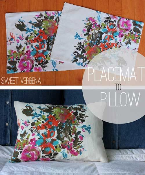 Recycled Pillow Stuffing Ideas: Placemat Pillows   Free Sewing Tutorial   Small pillows  Super    ,