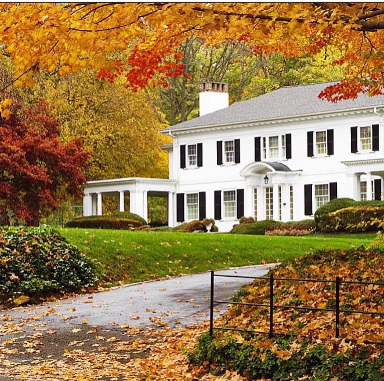 Pin By Ives Hovanessian On House Exterior Autumn Home White House Black Shutters House