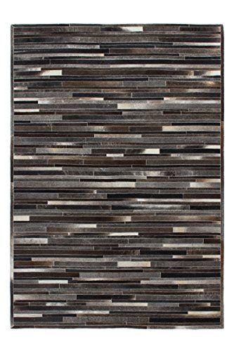 Teppich Design Rug Lavish 110 Grau-Braun 100 Leder 80x150cm   - Teppich Wohnzimmer Braun