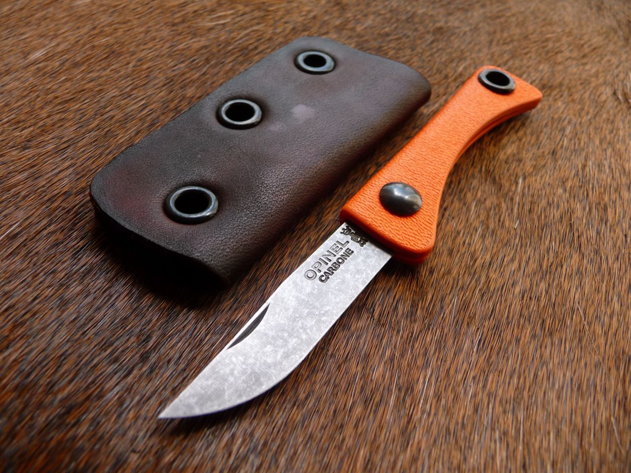 Hunter Orange Kydex Handled Stonewashed Opinel Mod For A Customer