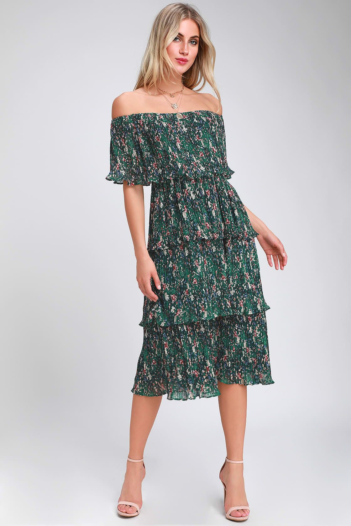 ad3c0f5539 Lulus | Gala Ready Green Floral Print Off-the-Shoulder Ruffle Midi ...