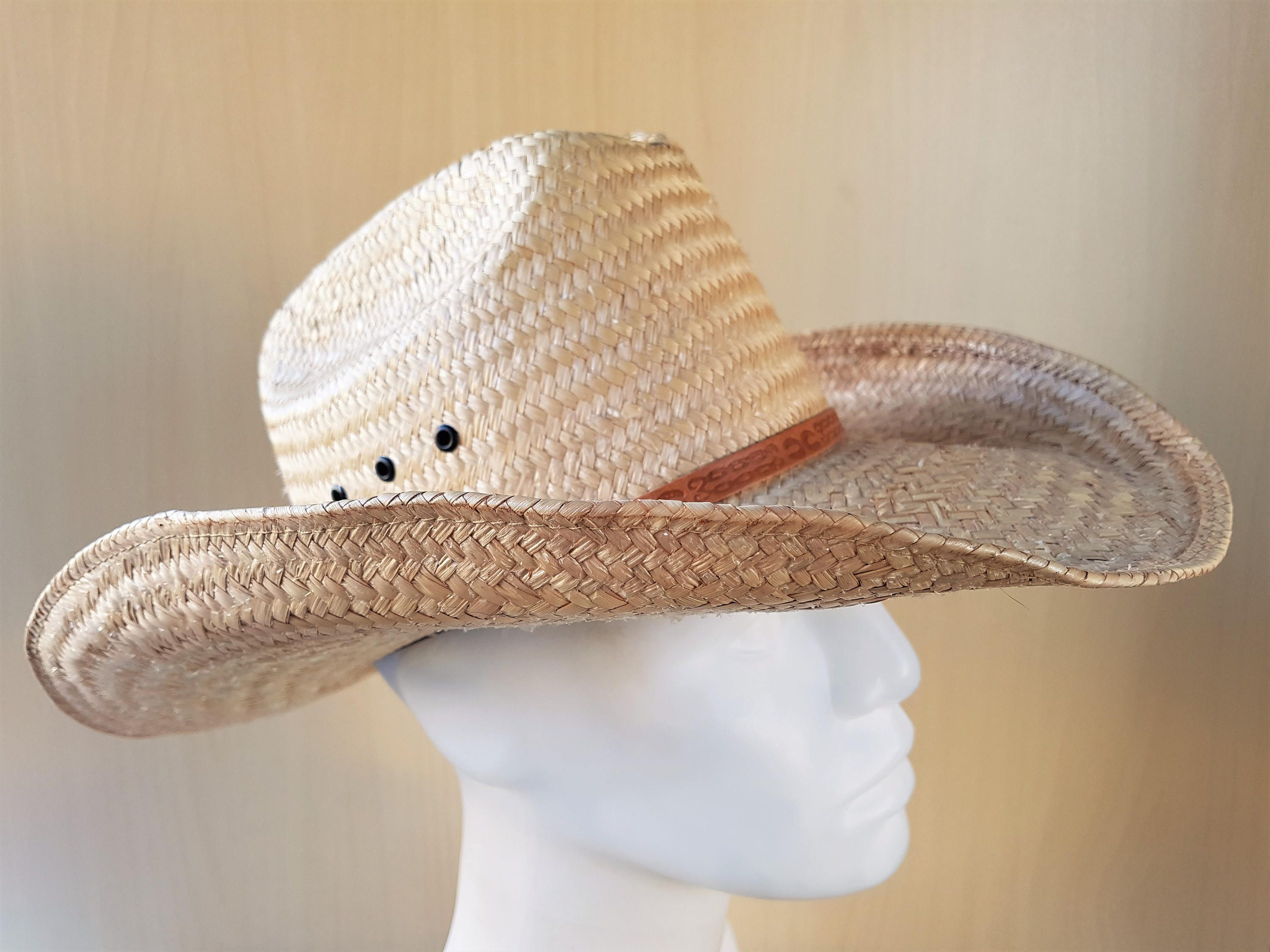 Vintage Authentic Laredo Western Palma Straw Cowboy Hat Size 6 5 8 53 Cm Xs Horse Ranch Cattleman Style Lucky Horseshoe Genuine Mexican Cowboy Hats Straw Cowboy Hat Cowboy