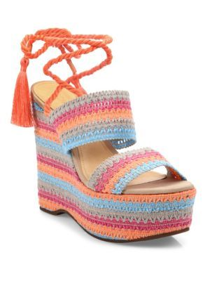 9c5a7e4738e SCHUTZ Bendy Crochet Lace-Up Wedge Platform Sandals.  schutz  shoes  flats
