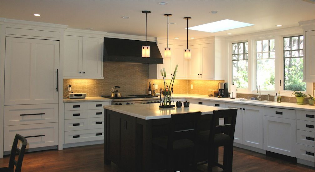 white cabs with black hardware and island