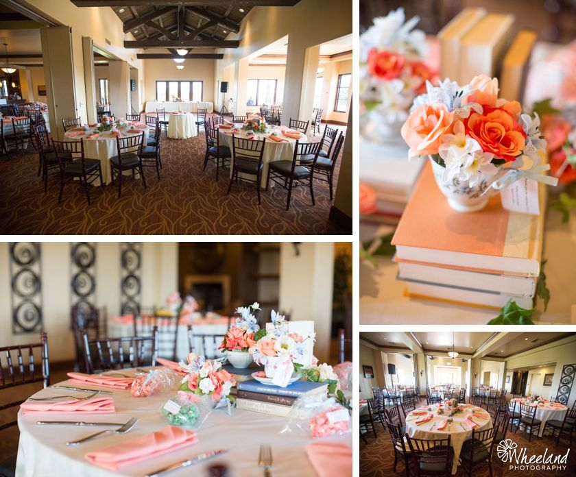 Aliso Viejo Country Club Wedding Peach And Light Blue Colors With Books Tea Cups