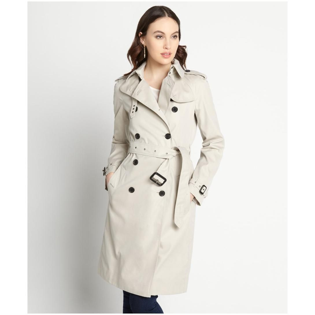 Womens Grey Cotton Belted Lady Trench Coat | Fashideas.com ...