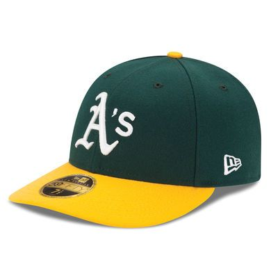 Men S New Era Green Yellow Oakland Athletics Home Authentic Collection On Field Low Profile 59fifty Fitted Hat Fitted Hats Oakland Athletics New Era