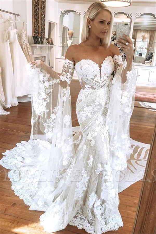 Elegant Sweetheart White Lace Wedding Dresses with