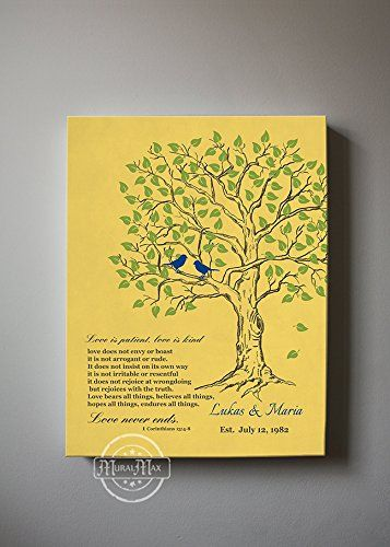 MuralMax Personalized Family Tree Lovebirds Stretched Canvas Wall ...