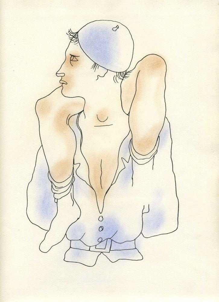 160b6ed0f8f Jean COCTEAU Beau dessin pour   Le livre blanc   Lithographie originale 1930