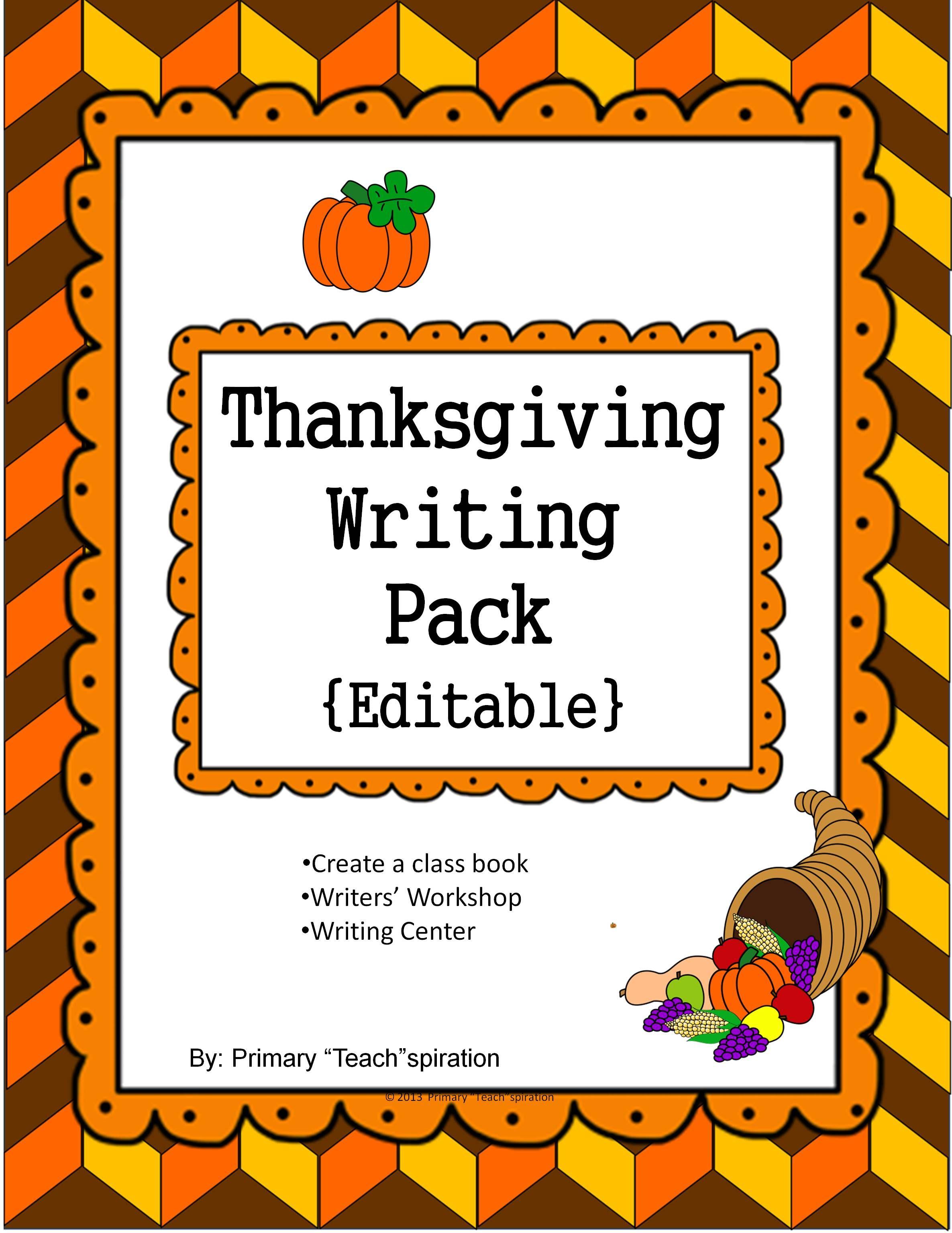 Thanksgiving Writing Pack Editable