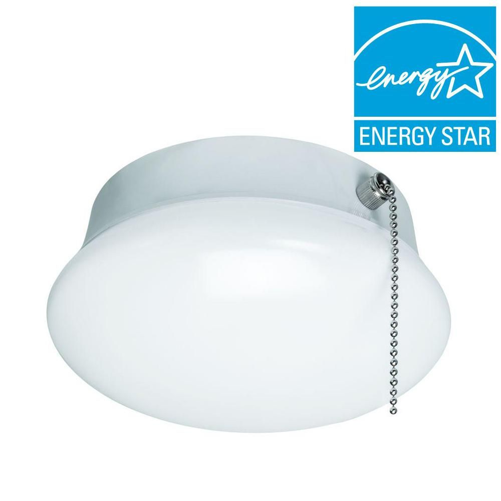 Commercial electric 7 in 60 watt equivalent bright white integrated commercial electric 7 in bright white led ceiling round flushmount easy light with pull chain mozeypictures Choice Image