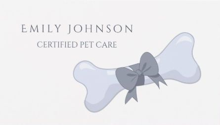 Simple and elegant pet care gray bone and bow business cards direct girly pet sitting and pet care business cards colourmoves