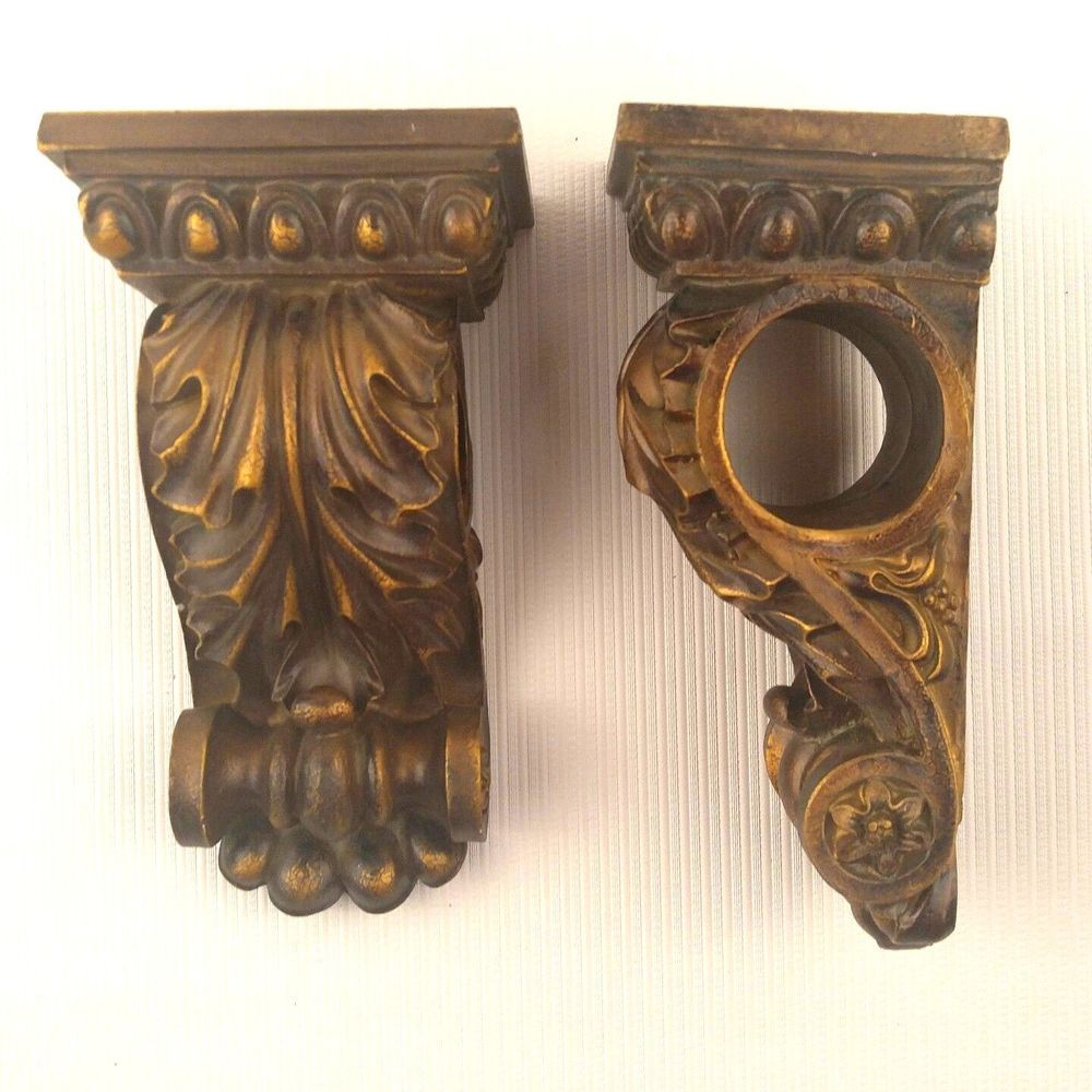 Set 2 Leaf Corbels Drapery Swag Curtain Rod Holder Sconces Art