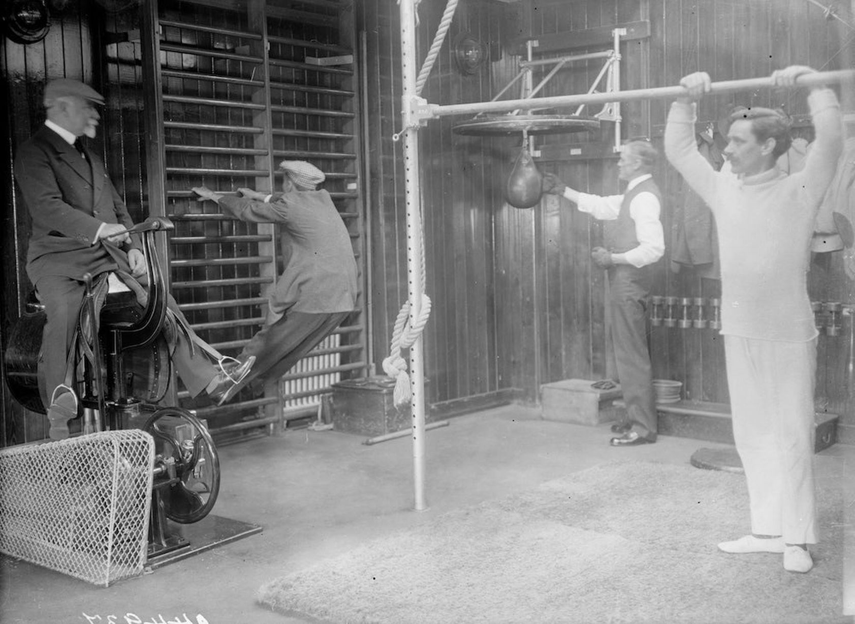 Passengers working out in the gym of the Cunard cruise liner Franconia, which was destroyed by a U-boat in 1916.