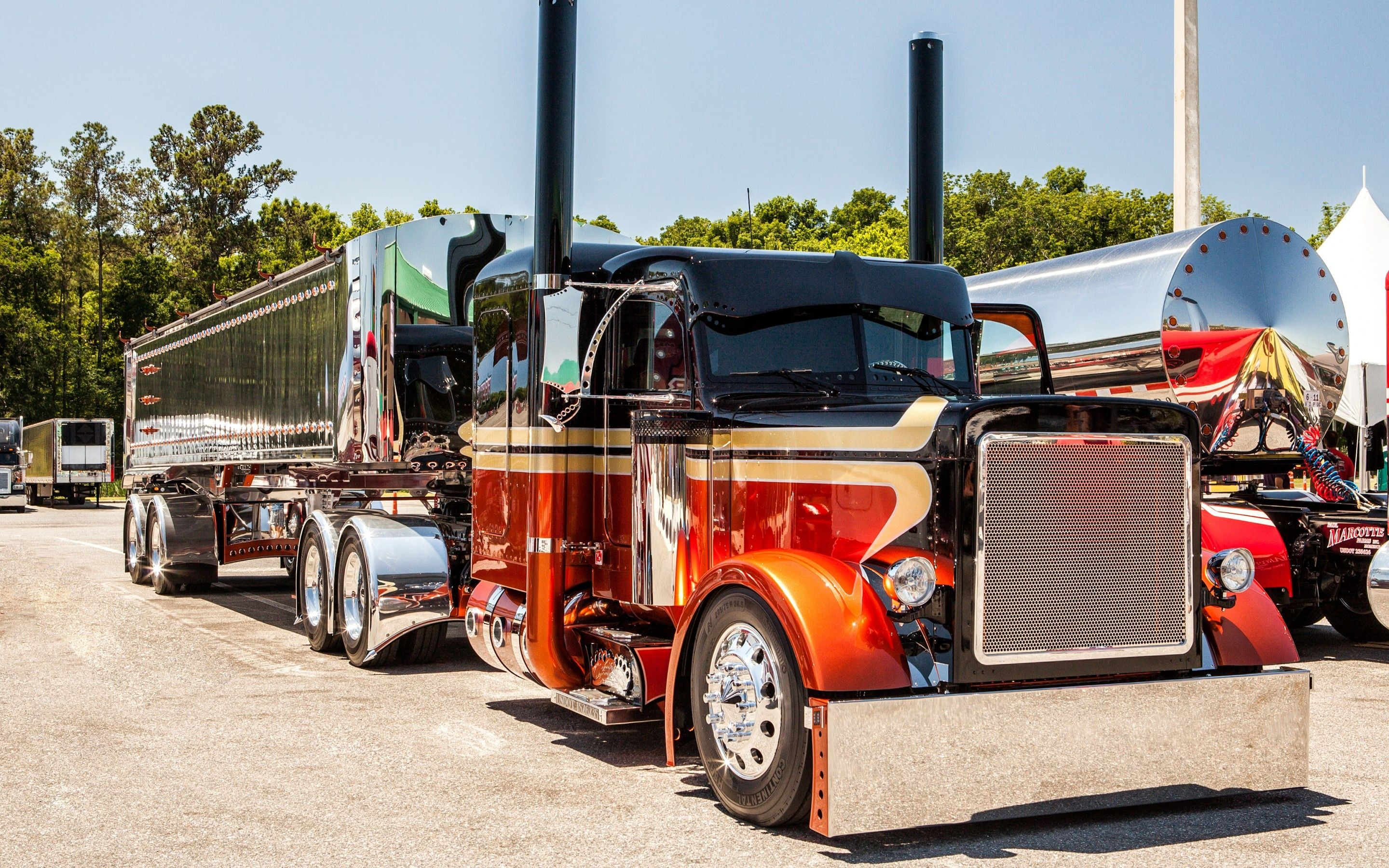 Custom Trucks Peterbilt Tractor Trailer Semi Rig Tuning Wallpaper