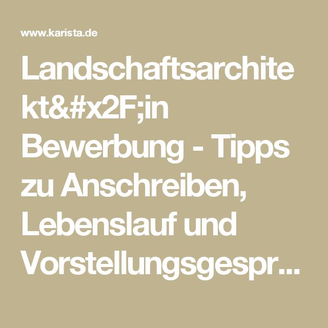 Landschaftsarchitekt/in Bewerbung - Tipps zu Anschreiben, Lebenslauf ...