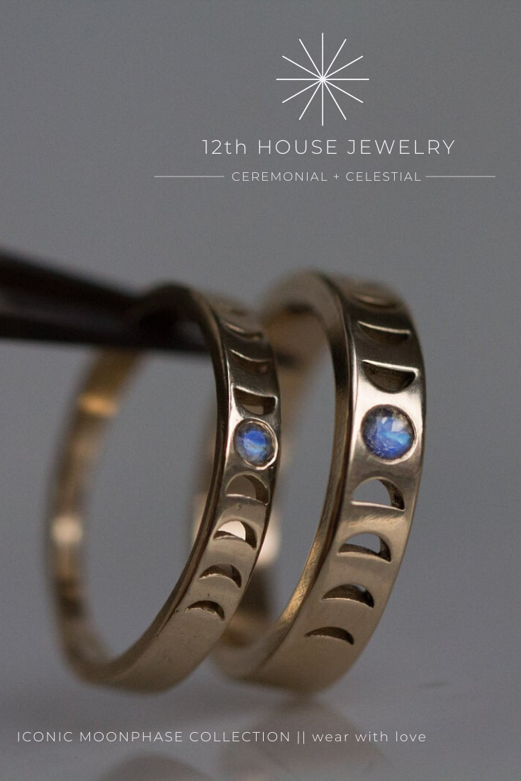 Iconic Moonphase Collection 12th House Jewelry Wear With Love Moon Phase Ring Celestial Jewelry Moon Phases