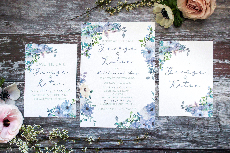 Rustic Blue Floral Wedding Invitation Dusky Blue Wedding Invitation Suite Dusty Blue Rustic Wedding Stationery Floral Wedding Invitations Dusky Blue Wedding