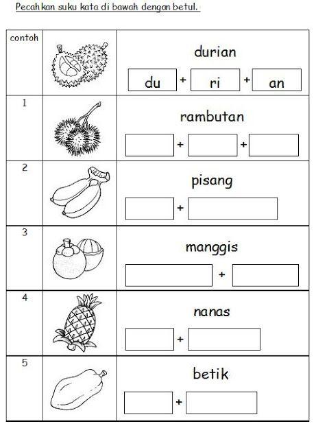 Bahasa Malaysia Prasekolah Latihan Buah Buahan School Kids Activities Alphabet Activities Preschool Preschool Writing