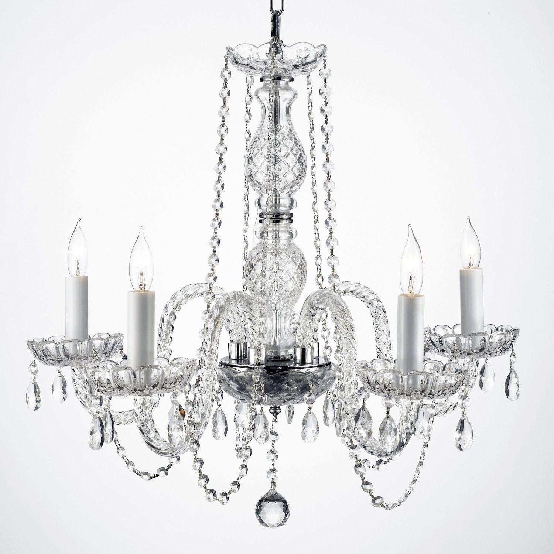 Gallery Venetian Style All Crystal Swag Plug In 5 Light Chandelier