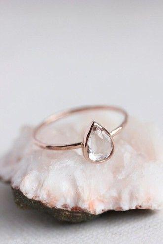 Jewels Ring Tear Teardrop Gold Pale Pastel Diamonds Hipster Wedding Minimalist Jewelry Engagement