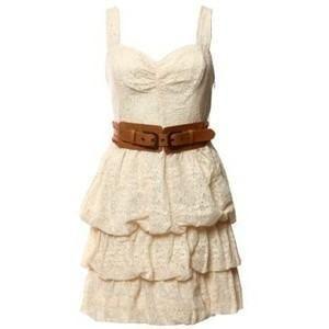 Guess Ivory Tiered Lace Crochet Dress Size M | eBay