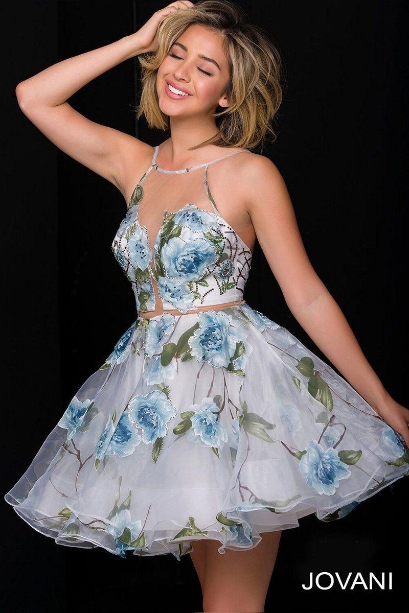 Jovani 47932 Sheer Neckline Floral Homecoming Dress