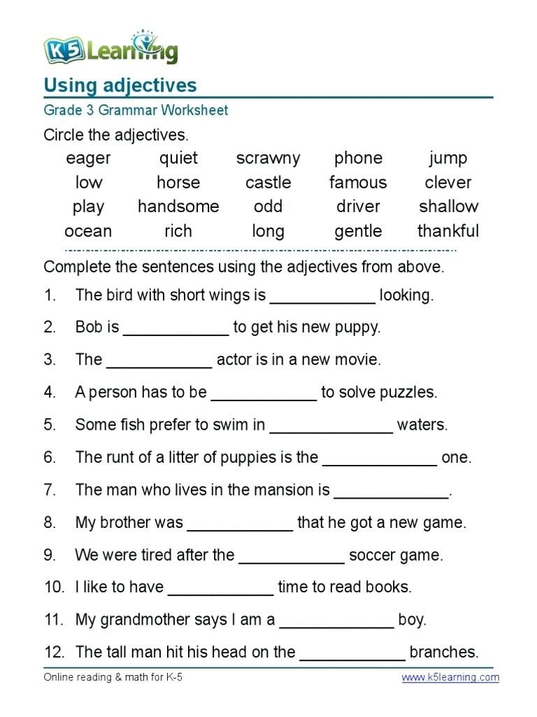 picture about Parts of Speech Test Printable titled Worksheet English Grammar Worksheets For Grad upon Worksheet