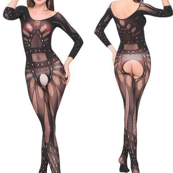 8ff59eb6850 Sexy Women s Underwear Crotchless Bodystocking Suspender Bodysuit ...