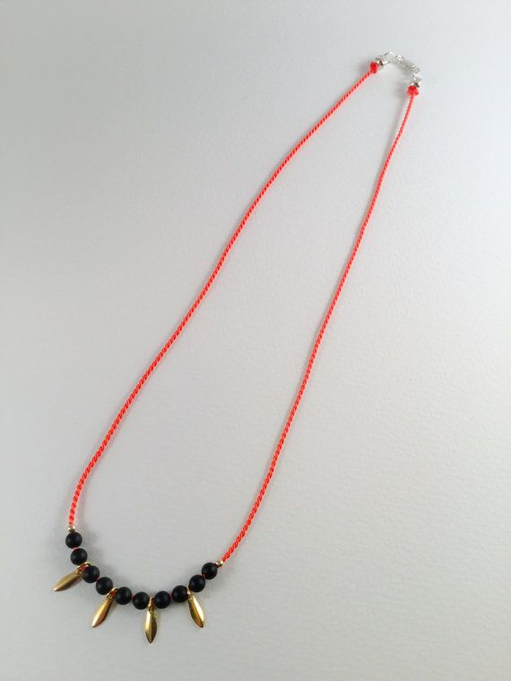 Orange silk & onyx delicate layering necklace by LovesAvenue. One for the christmas list.