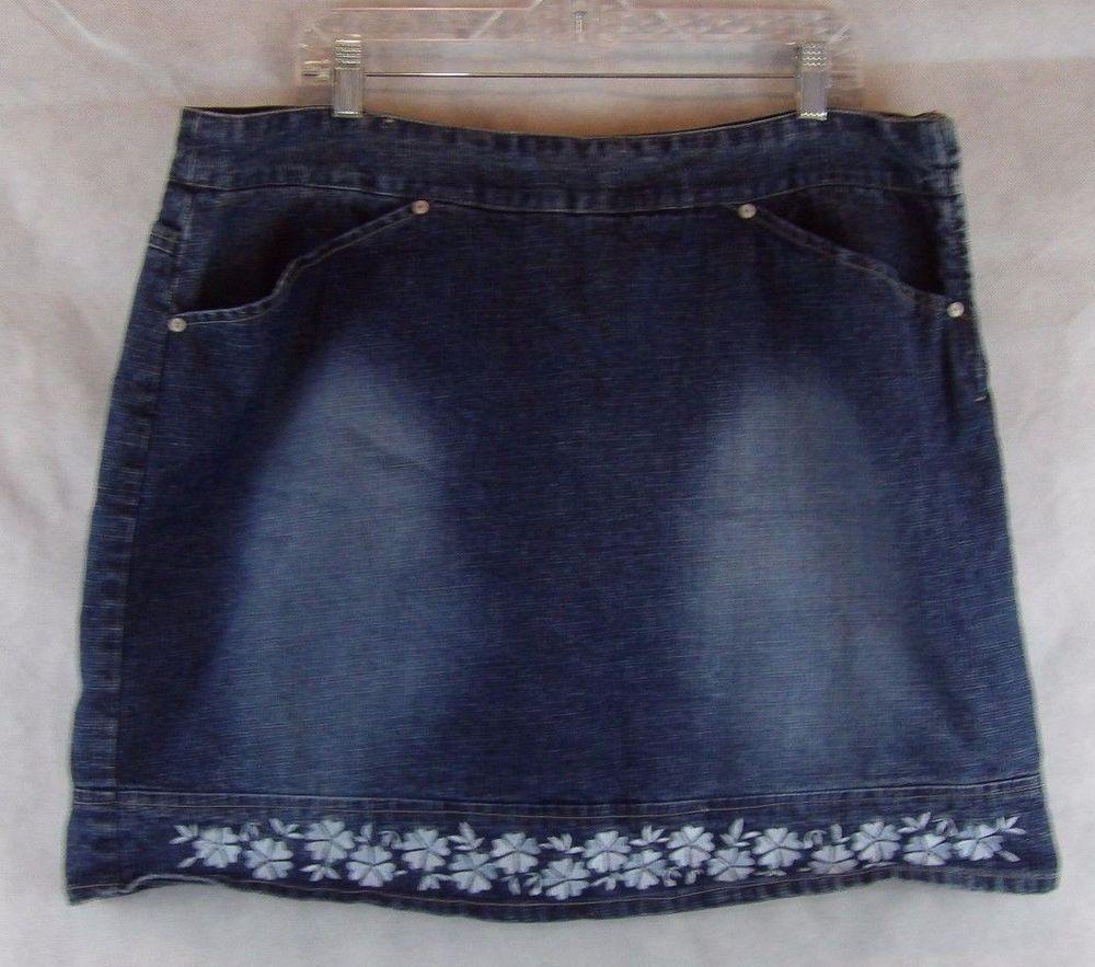Women's Squeeze Skort Skirt Embroidered Bottom Accent~ Blue denim~ Sz 20  #squeeze #Skort #Everyday