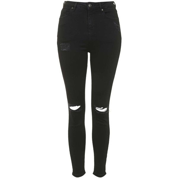 TOPSHOP TALL MOTO Black Ripped Jamie Jeans (€69) ❤ liked on Polyvore featuring jeans, pants, bottoms, black, high waisted distressed jeans, black distressed jeans, ripped jeans, high waisted ripped jeans and high rise black skinny jeans