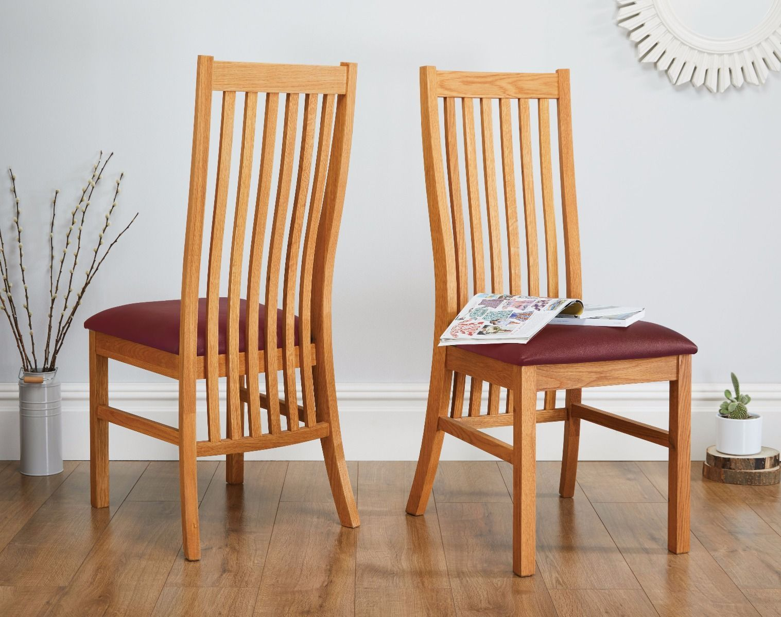 Terrific Plichfield Red Leather Oak Dining Chair Span Stylecolor Machost Co Dining Chair Design Ideas Machostcouk