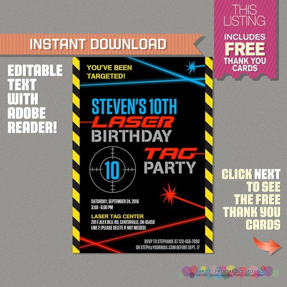 picture regarding Laser Tag Birthday Invitations Free Printable identify Laser Tag Invitation with Totally free Thank by yourself Card - Laser Tag
