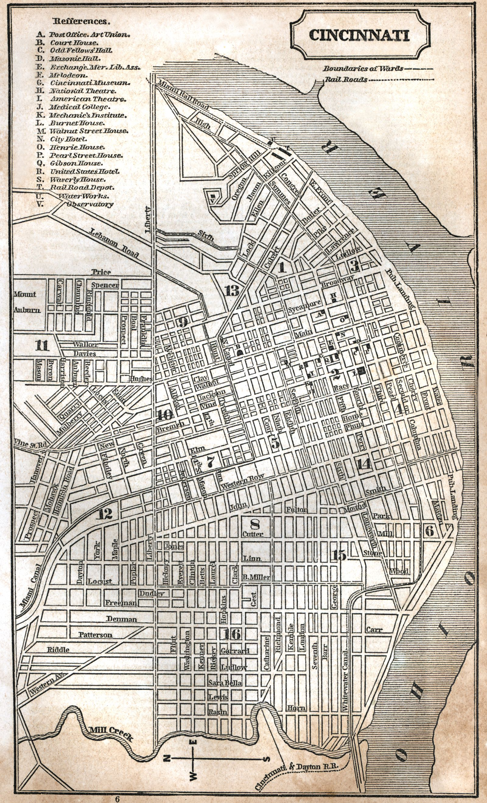 Cincinnati Ohio 1853 Zoomable Map Cincinnati Map