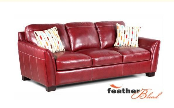Simon Li Midtown Red Stationary Leather Sofa At Great American Home Store Leather Sofa Sofa Living Room Leather